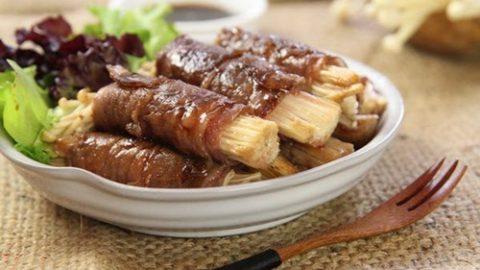 Bò cuộn nấm kim châm nướng review