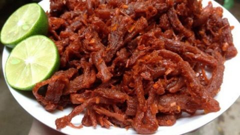Thịt lợn giả bò khô review