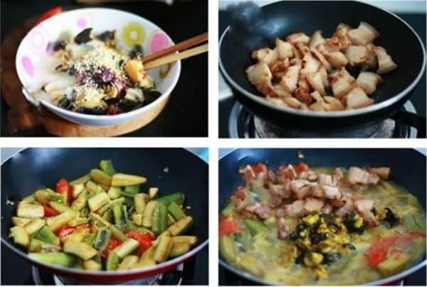 Hoàn thành món ốc nấu chuối đậu