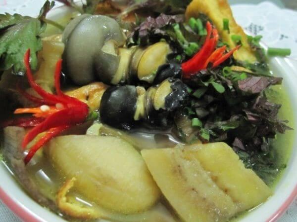 Món ốc nấu chuối đậu mang lại khá nhiều lợi ích